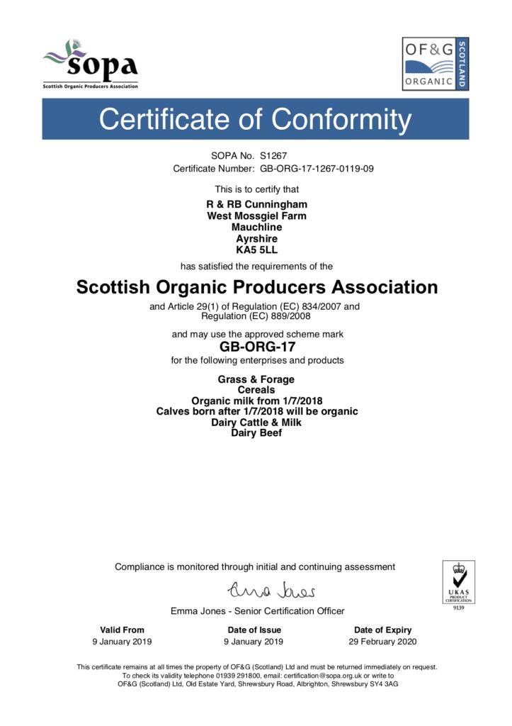 SOPA Certificate for Mossgiel Organic Farm